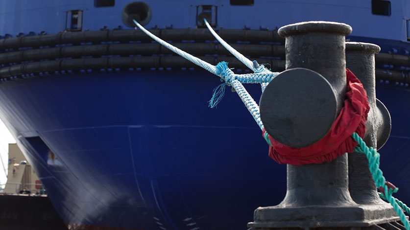 tied up blue vessel